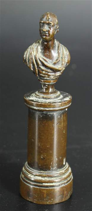 Small Bronze Figural Bust on Pedestal