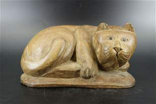 Carved Wood Figural Cat Sculpture
