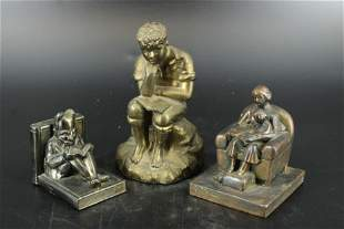 3 Piece Lot of Bookends and Figural Sculpture