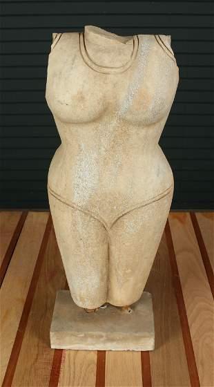 Carved Marble Khmer Uma Style Torso