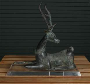 Patinated Sarreid Style Deer on Lucite Stand