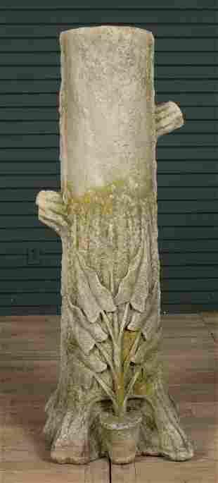 Carved Limestone Faux Bois Garden Sculpture