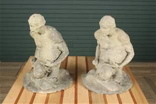 Pair Cast Stone Figural Mermen Garden Sculptures