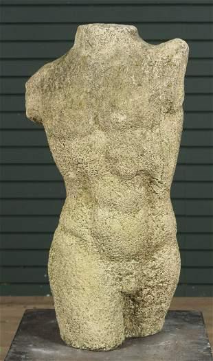 Neo-classical Cast Stone Figural Male Torso