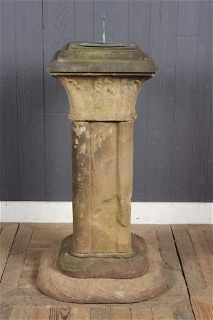 Rare 19th C. Carved Stone and Bronze Sundial
