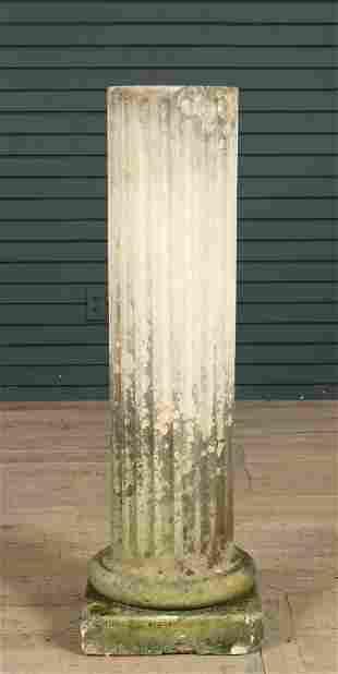 Antique Carved Limestone Column Pedestal