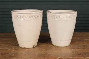 Pair Glazed Terracotta Urns
