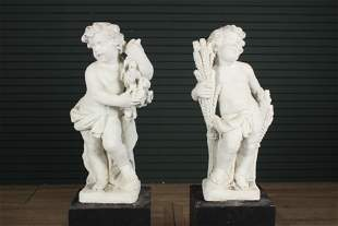 Vintage Cast Stone Summer and Fall Putti
