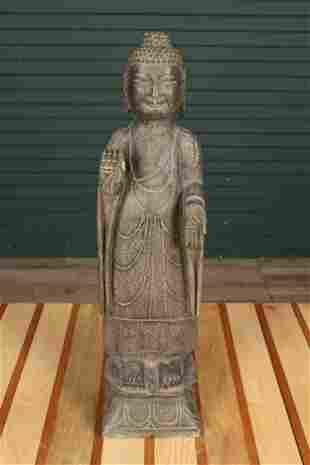 Carved Stone Buddha Garden Sculpture