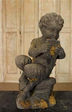 Cast Stone Figural Satyr Garden Sculpture