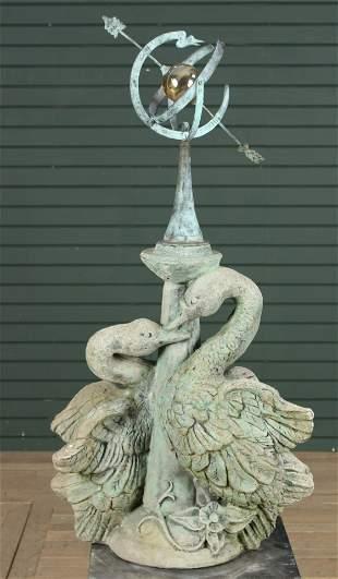 Cast Stone Swan Motif Garden Armillary