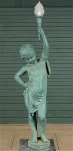Monumental Figural Cast Iron Putti Lamp Post