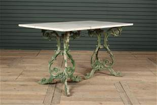 Marble Top Confectioners Table on Cast Iron Stands