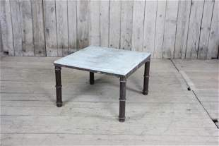 Iron Base Garden Drinks Table With Marble Top