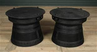 Pair Cast Metal Rain Drum Form Drinks Tables