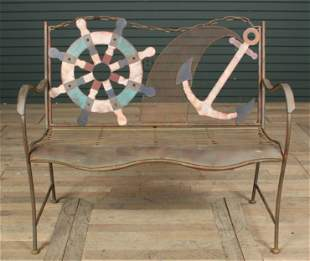 Nautical Theme Wrought Iron Garden Bench