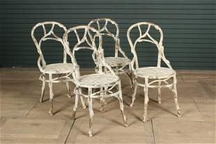 Set of 4 Faux Bois Sculpted Metal Bistro Chairs