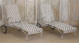 Pair Wrought Iron Deck Chaises with Metal Lattice
