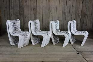 Lot of 4 Leather Strap Wrapped Chairs