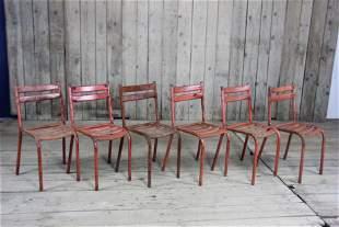 Set of 6 Vintage Metal Stacking Metal Chairs