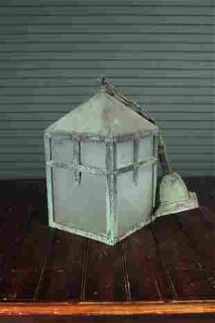 Arts and Crafts Verdigris Copper Pendant Lantern
