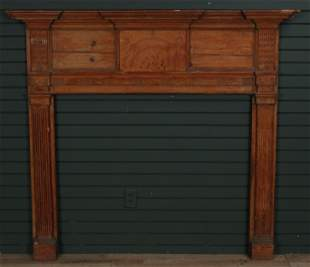 Antique Architectural Chipped Carved Pine Mantel