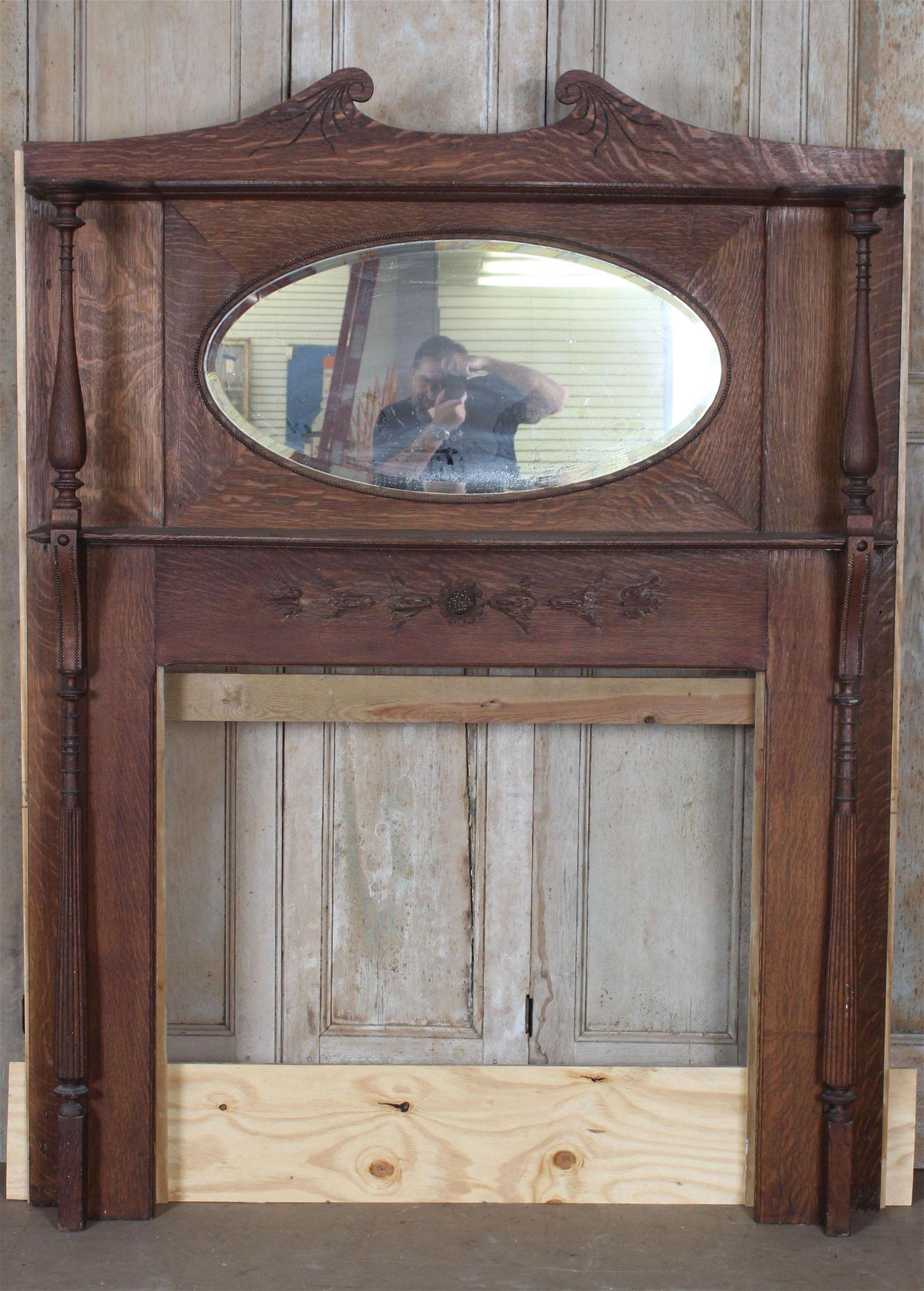 Antique American Quartersawn Oak Mantel