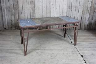 Iron Trestle Base Industrial Work Table