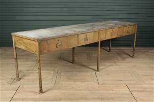 Industrial Zinc Top Potting Table