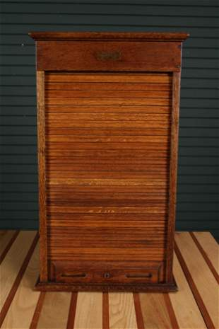 Rand McNally & Co. Antique Oak Collectors Cabinet
