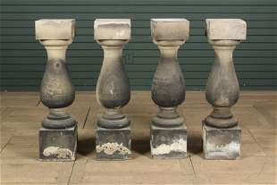 4 Carved Limestone Balusters