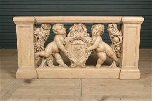 Continental Carved Marble Heraldic Frieze