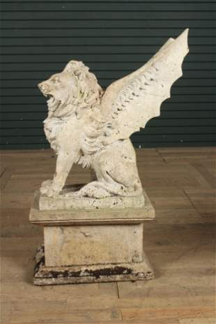 Carved Marble Winged Lion Garden Statue