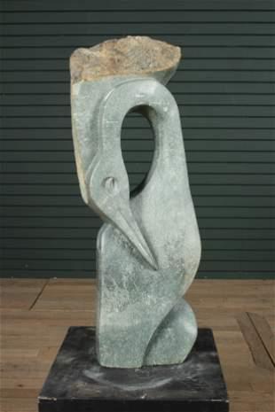Abstract Bird Form Shona Stone Garden Sculpture