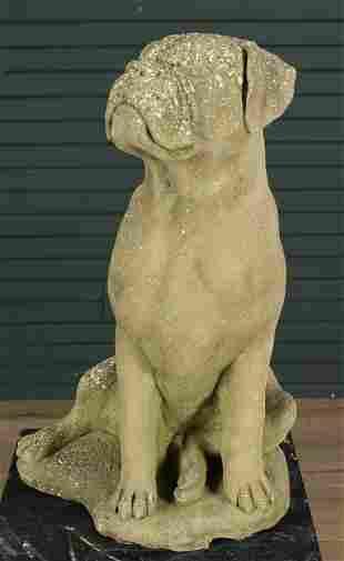 Vintage Cast Stone Mastiff Garden Figure