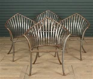 4 Gothic Peak Tubular Steel Garden Chairs
