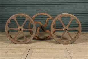 3 Antique Cast Iron Factory Drive Wheels