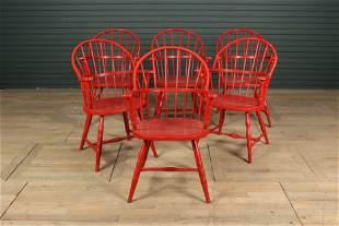 Rare Set of 6 Metal Windsor Chairs