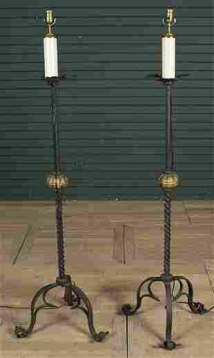 Pair Wrought Iron Torchiere Floor Lamps
