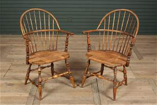 Pair English Style Windsor Continuous Arm Chairs