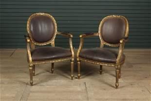 Pair Louis XVI Style Fauteuils