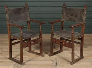 Pair Antique Italian Leather Open Arm Chairs