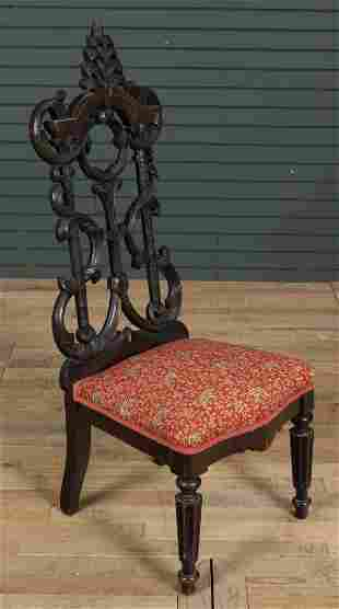 Late 19th C. Black Forest Style Oak Side Chair