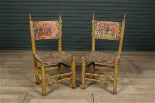 Pair Italian Carved and Paint Decorated Chairs