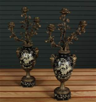 Pair of Bronze and Slate Garnitures