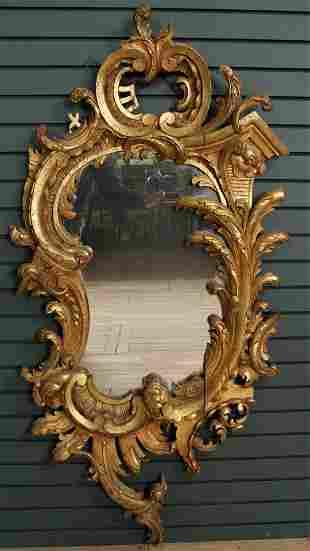 Continental Rococo Style 19th C. Giltwood Mirror