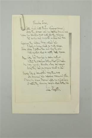 Handwritten poem by Celia Thaxter