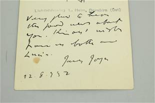 James Joyce Autographed Postcard