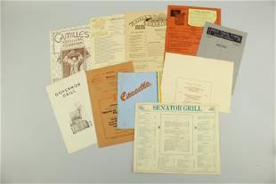 Lot of Vintage Menus from California Restaurants