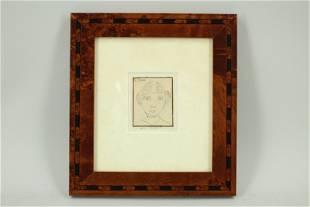 Framed Ink Drawing, Titled Self Portrait